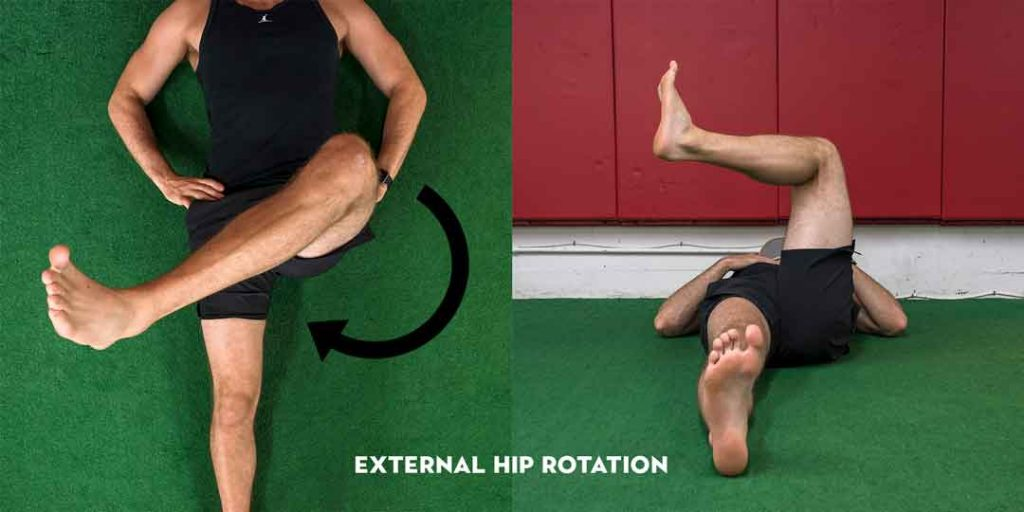 Here are examples of a test to see your active hip internal rotation and external rotation. Feel free to use your hands to feel whether your spine or pelvis is joining into fake rotation at the hip.