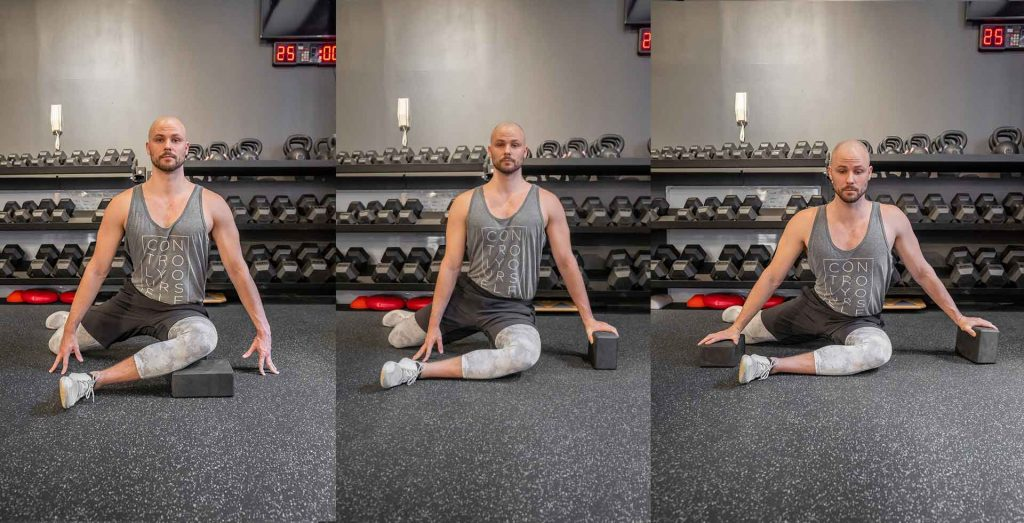 Use yoga blocks to help you regress your 9090 hip stretch