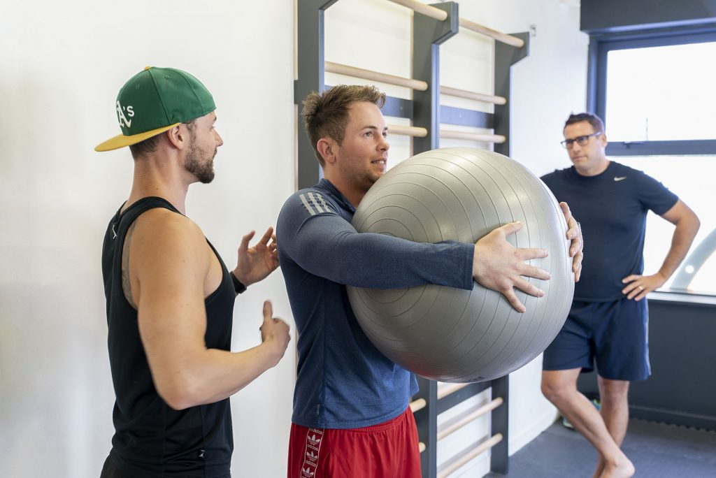 Using a stability ball for mobility exercises